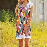 Rurah Fashion Women's Summer Casual Floral Printed Short Sleeve Flower Dress ,S