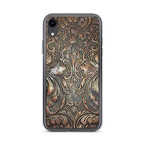 iPhone XR Pure Clear Case Cases Cover Golden Brown Carved Tooled Leather