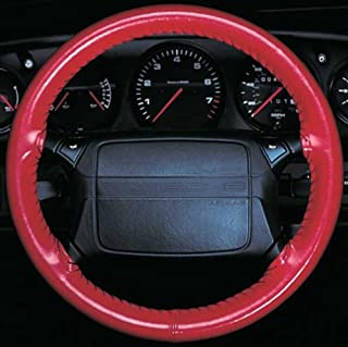 product image for Wheelskins Genuine Leather Red Steering Wheel Cover Compatible with Vehicles -Size AX