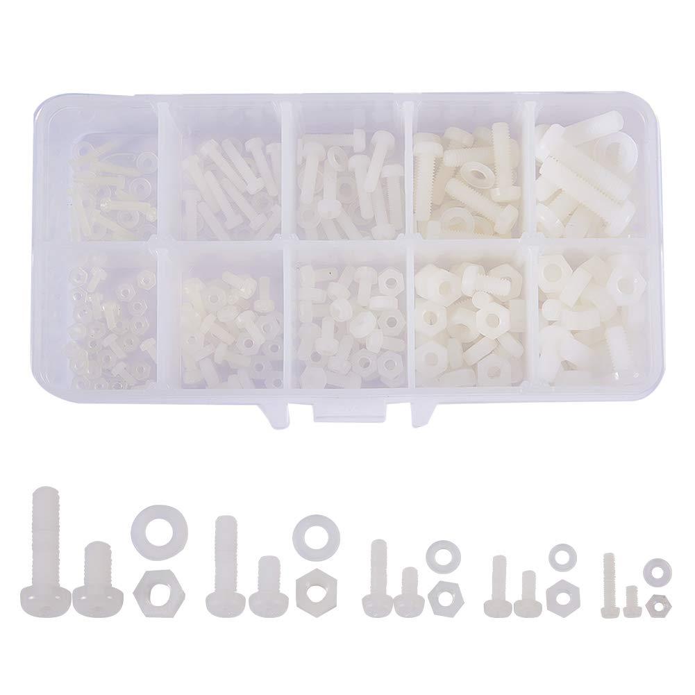 schwarz increway Nylon wei/ß//schwarz Schraube Mutter Waschmaschine Sortiment Kit