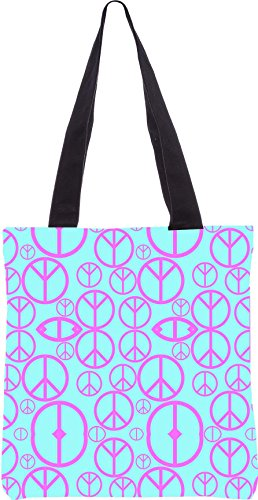 Snoogg Friedenssymbolmuster 2894 13,5 x 15 Zoll-Shopping-Dienstprogramm-Einkaufstasche aus Polyester-Segeltuch gemacht