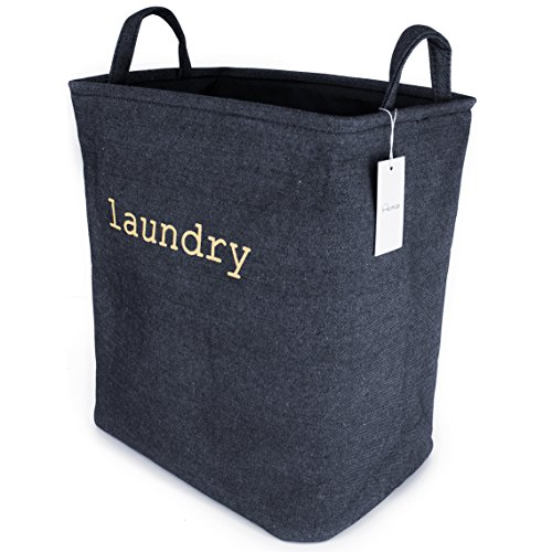 Household Denim Collapsible Small Size Laundry Hamper with Two Handles, Heavy Duty and Durable, Collapsible and Self Standing as Laundry Basket (15.8 x 10.2 x 14 inch) (Denim) (Fruit Basket Hampers)