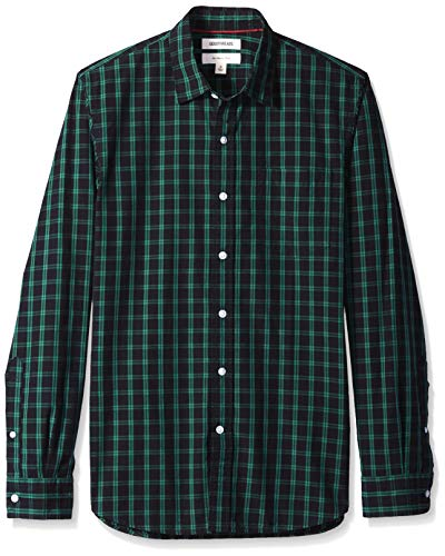 Goodthreads Men's Slim-Fit Long-Sleeve Poplin Two-Color Check Shirt, Black/Green, ()