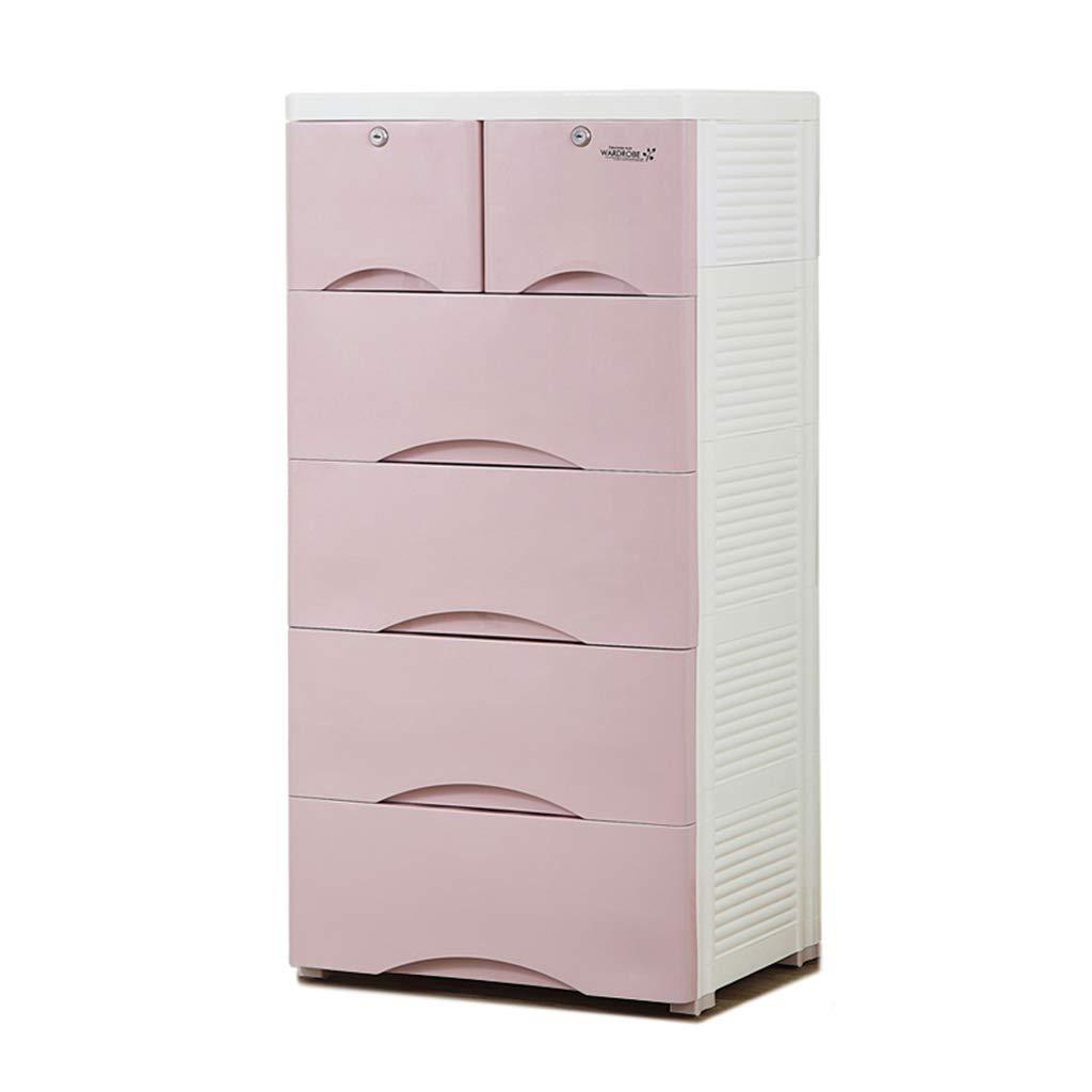 C-J-Xin Boîte de rangement d'articles divers, grand salon de casier en plastique multifonctionnel à cinq étages avec poulie pouvant se déplacer, 50 * 40 * 103CM Boîte de rangement domestique
