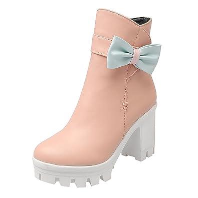 UH Damen Chunky Heels Boots Blockabsatz Plateau Stiefeletten mit  Reißverschluss und Fell Süß Schleife Warme Bequeme c5adcd9903