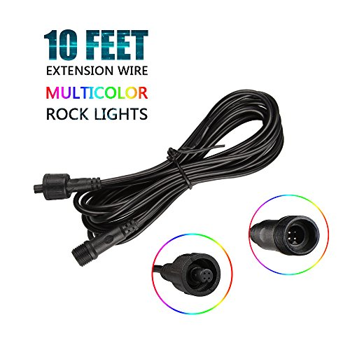 Wayrank 10 FT Extension Wire Cable Cord for 4 Pods RGB LED Rock Light Kits