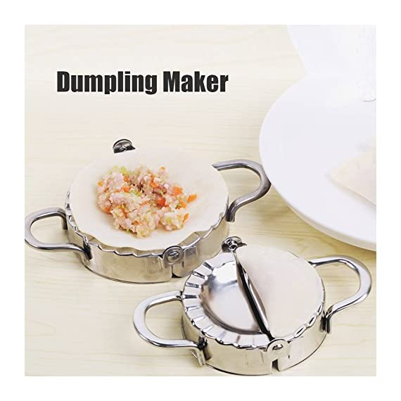 Dumpling Maker 2 PCS Stainless Steel Dumpling Mold and Dough Press for Home Kitchen,Stainless Steel Dough Press Dumpling Pie Ravioli Mold Gyoza Empanada Maker 2 Ideal DIY tool for making dumpling ,empanada, ravioli maker ravioli mold, empanada maker, dough press, pastry, ravioli, mini pie maker, pastry mold, stainless steel molds, dumpling mold, ravioli press, pie press , pie mold. High Quality: Made of stainless steel with a unique and elegant high quality mirror-polishing, it won't rust, bend, break or weaken, and feel comfortable. Easy to use :durable and solid enough.Perfect handles to allow fingers to hold tight, The edge outside is sharp enough to cut out the needed volume of dough easily.Put the dough on the upper side, slightly press down. Then you can add the filling and close the ravioli mould.
