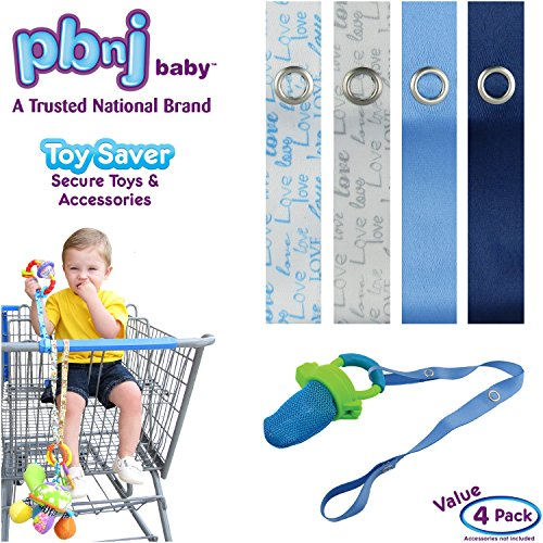 Best Deals! PBnJ baby Toy Saver Strap Holder Leash Secure Accessories Gray-Blue Love/Blue/Navy - 4pc