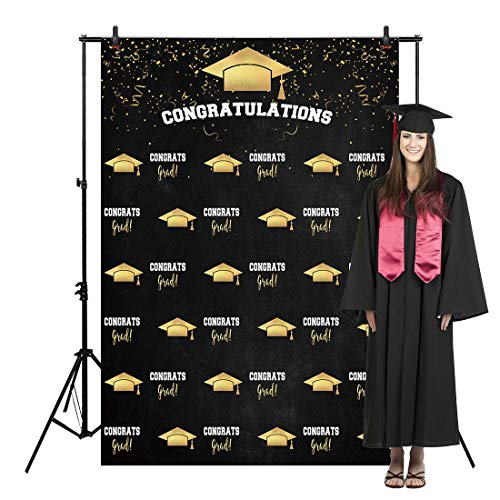Allenjoy 5x7ft Congrats Grad Backdrop Class of Graduation Step and Repeat Chalkboard for College Congratulate Prom Pictures Candy Table Dessert Party Ceremony Decor Banner Event Photo Booth Shoot