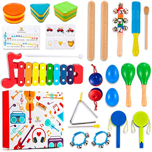Learning Toy Boxes Toddler Musical Instruments for Kids Band 32 PCS Musical Toys with Gift Box Wooden Maracas Xylophone…