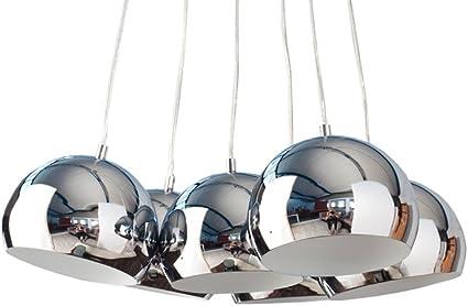 6 flammige Design Hängelampe PERLOTA XL Hängeleuchte Chrom