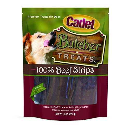 (Cadet Beef Strips Dog Jerky Treats | 8 oz | Natural and Healthy Dog Treats | Grain Free Dog Treats)