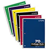 TOPS 1-Subject Spiral Notebooks, College Rule, 10.5 x 8 Inches, 70 Sheets/Book, 6-Pack (65007)