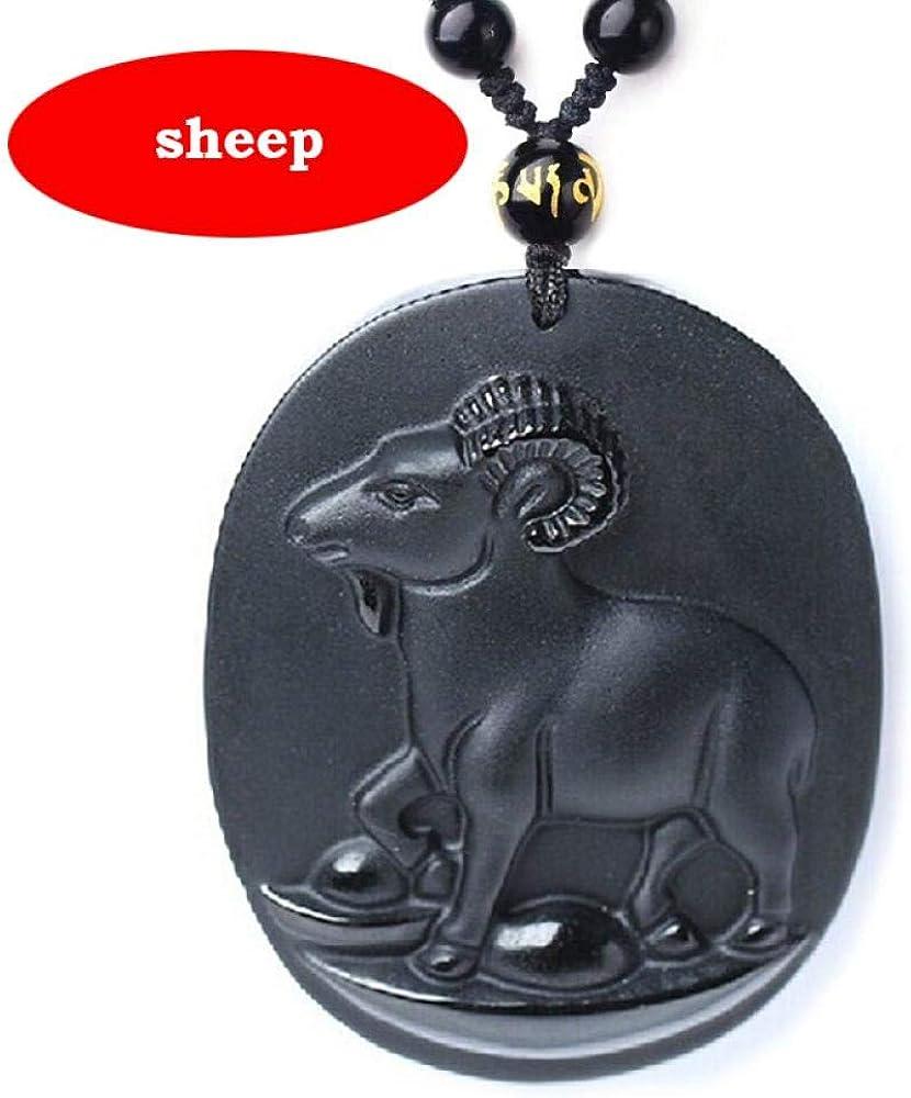 TFTHG Collar de Colgante de Jade de obsidiana Natural Collar de Tigre de Animal de obsidiana Negra Colgante de Jade Colgante Amuleto de la Suerte Regalos de Jade