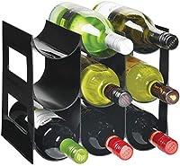 mDesign Práctico estante para botellas de vino – Botelleros para vino y otras bebidas para guardar hasta 9 unidades – Vinoteca de plástico de pie – negro
