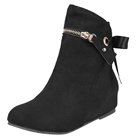 Logobeing Botas de Mujer Heighten con Cordones Altas Boots Cremallera Botas Clásicas de Tobillo Casual Botines