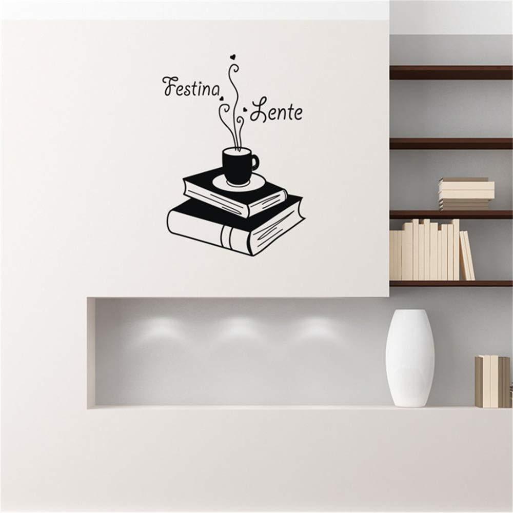 pegatinas de pared bebe Festina Lente Cita Libro Café Decoración ...
