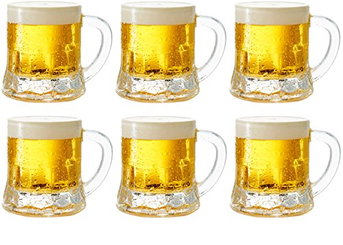 Oktoberfest Plastic Beer Mugs (Circleware 42799 Roadhouse Mini Mason Beer Mug Heavy Base Glasses, Set of 6, Fun Party Entertainment Beverage Drinking Glassware Tumbler Whiskey Coffee Espresso Liquor Jello Shots Cups, 1.7)