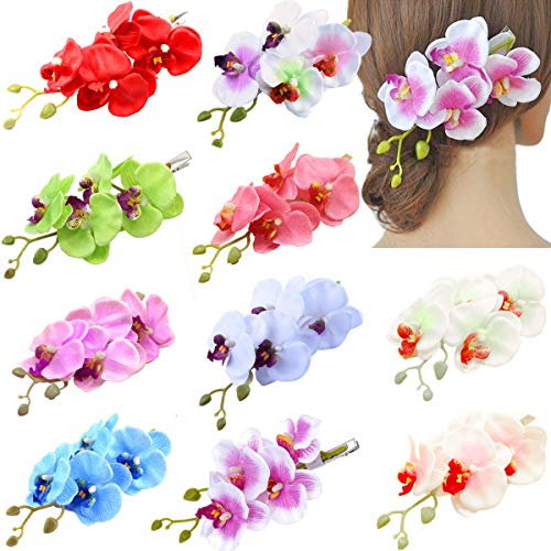 7.5 Big Artificial Chiffon Butterfly Orchid Flower Hair Pins Phalaenopsis Flowers Alligator Clips for Women Bridal Wedding Decroation 10 Colors