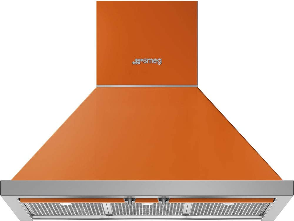 Smeg Portofino Series 30-Inch Wall Mount Ducted Chimney Hood with 600 CFM, Recirculating Option & LED Lights (Orange)