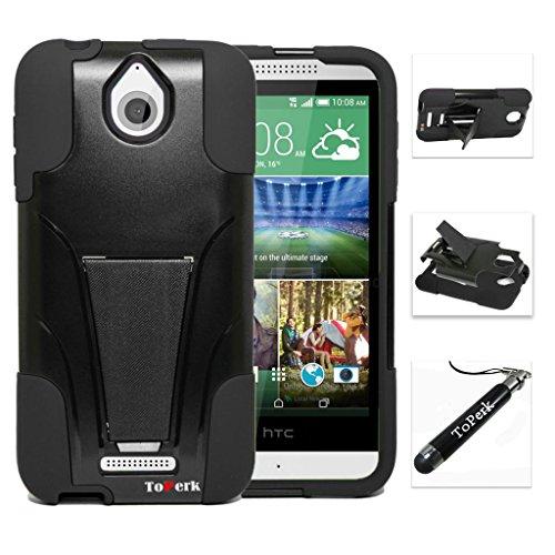 [ HTC Desire 510 ] ToPerk (TM) T-Stand Dual Layer Armor Case + Free HD Screen Protector & ToPerk Stylus Pen As Bundle Sale - Black