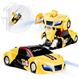 Betheaces Remote Control Car, Transformers Toys RC Car for Boys Girls, 360°Rotating Wall Climbing Car, with One Button Deformation Function and Intelligent Glowing USB Cable, Robot Car Gifts for Kids