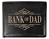 RFID Blocking Personalized BANK OF DAD Bifold Wallet Custom Wallets for Men Funny Fathers Day Gift Birthday Present Idea for Daddy