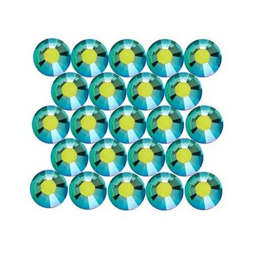 Swarovski Crystal, #2028 Xilion Rose Hotfix Crystal Flatback Rhinestones ss16, 50 Pcs, Fern Green AB