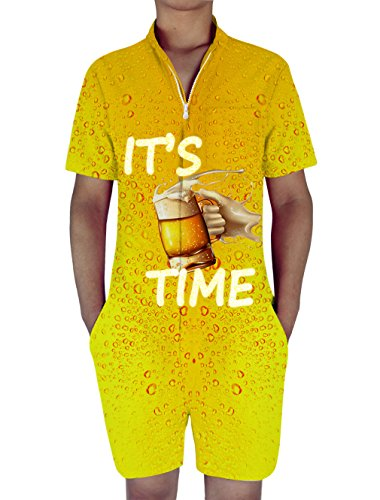 """RAISEVERN Mens 3d Graphic Printed Personalized Short Sleeve Jumpsuit Rompers Playsuit Overalls One Piece Slim Fit Size information:Small : Bust: 42.5""""; Waist:36.6"""" ;Shoulder 17.3"""" ;Length 37.8"""" ; Height 5'5""""-5'7"""" ; Weight 60-65kg Medium : Bus..."""