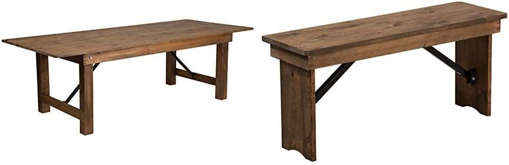 Flash Furniture Hercules Series 8' x 40%22 Rectangular Antique Rustic Solid Pine Folding Farm Table & Hercules 40%22 x 12%22 Antique Rustic,Solid Pine Folding Farm Bench