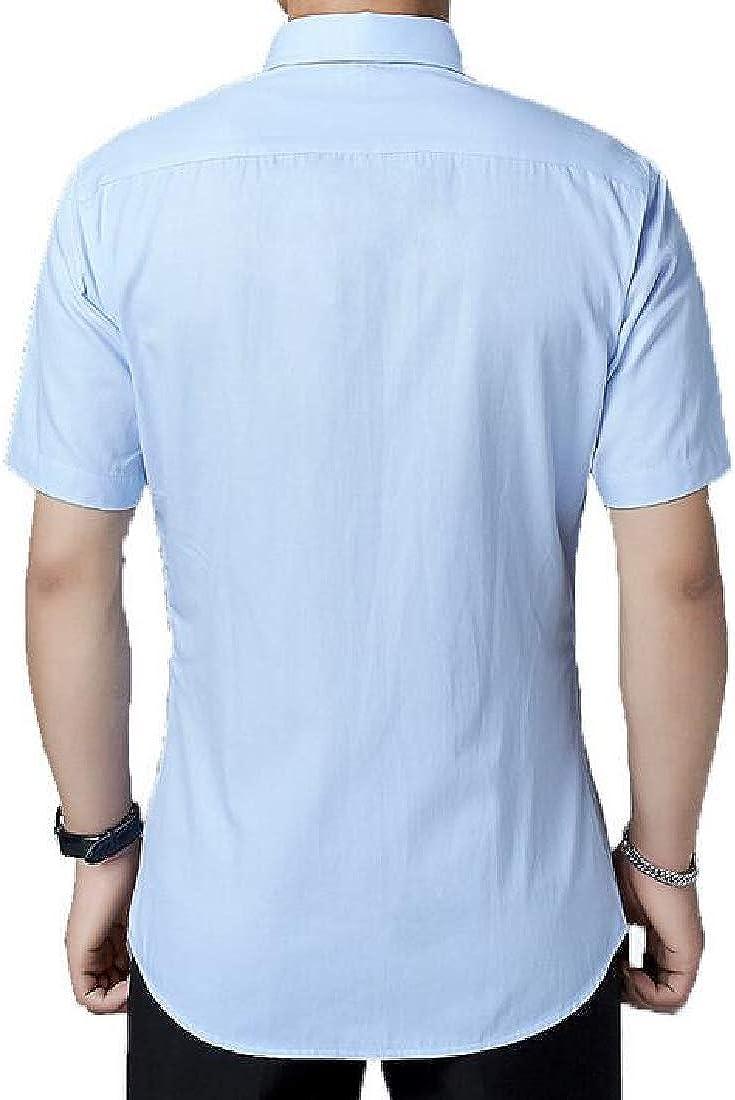 pipigo Mens Fashion Short-Sleeve Button Down Solid Color Office Dress Shirt