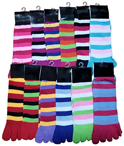 (Toe Socks, 12 Pairs Assorted Colorful Patterns, Womens or Girls Fun Warm Winter Sock (Girls Assorted, Girls (6-8)))