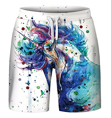 Pattrily Men's 3D Printed Casual Classic Loose Fit Trunks Boardshort Shorts,Unicorn,L/XL ()