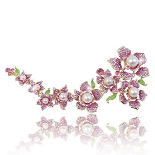 EVER FAITH Austrian Crystal Simulated Pearl 7.7 Inch Bridal Flower Cluster Brooch Pink Gold-Tone -