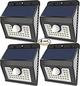 Vivii 30 led Solar lights, Super Bright LED Security Lighting Outdoor Motion Sensor Solar Spotlight flood Lighting for Garden, Patio, Fencing, and Pathway - 4 PACK by VIVII