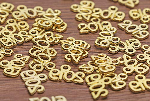 Shapenty Mini Metal Year Signet 2019 DIY Pendant Charms Accessory Bulk for Bracelet Necklace Earrings Keychain Tassels Cellphone Crafting Jewelry Making Christmas Graduation Party Decor, Gold, 100PCS