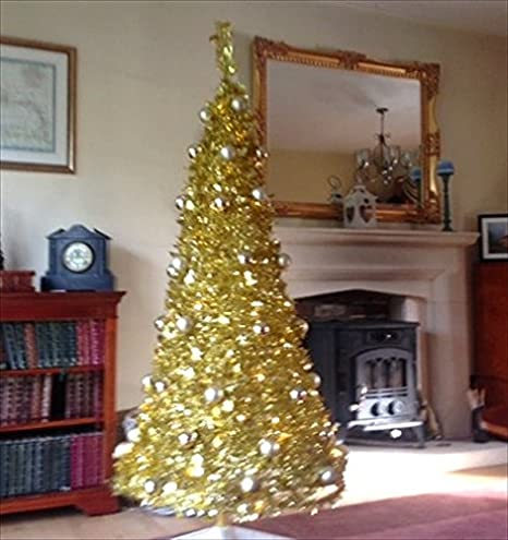 6ft pop up christmas tree pre lit 150 warm white led light pre decorated with gold - Pop Up Pre Lit And Decorated Led Christmas Tree