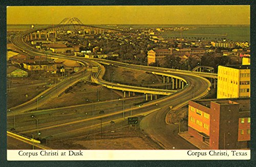 View Birdseye Postcard (Corpus Christi at Dusk Evening Highway Bridge Scene Birds Eye View Postcard)