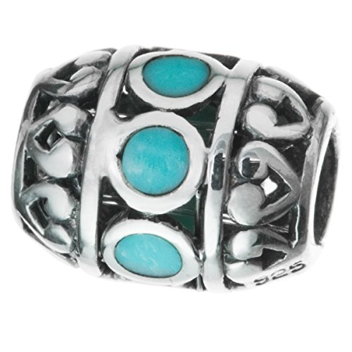 Dreambell 1 pc 925 Sterling silver Synthetic Turquoise Stone Focal Barrel Bead -