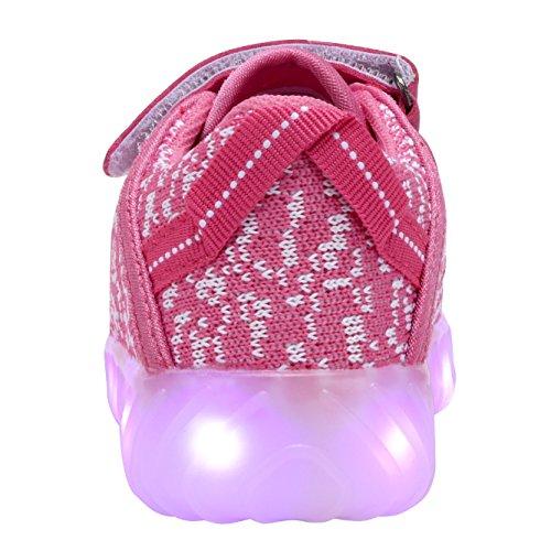 Coodo Enfants Garçons Filles Led Allument Chaussures Sneakers Clignotant (enfant En Bas Âge / Litière Enfants) 5-fuschia / Blanc