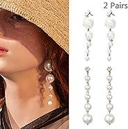 Daimay Big Pearl Long Tassel Drop Earrings Dangle Earrings Statement Geometric Bridal Earrings Accessories Jew