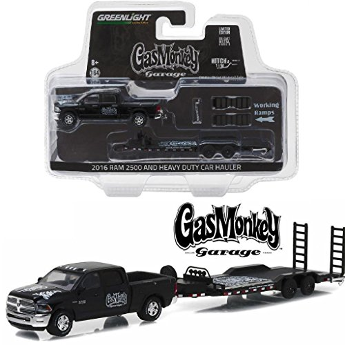 Car Model Green - New 1:64 HITCH & TOW SERIES 8 - BLACK 2016 RAM 2500 AND HEAVY DUTY CAR HAULER Diecast Model Car By Greenlight