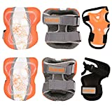 Sports Protective Gear Safety Pad Safeguard (Knee Elbow Wrist) Support Pad Set Equipment for Kids Roller Bicycle BMX Bike Skateboard Extreme Sports Bogu Protector Guards Pads (Yellow White, Medium)