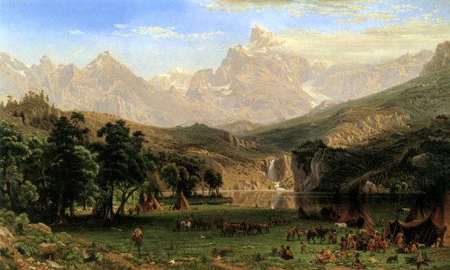 THE ROCKY MOUNTAINS LANDER'S PEAK 1869 INDIAN CAMP BY ALBERT BIERSTADT PRINT REPRO
