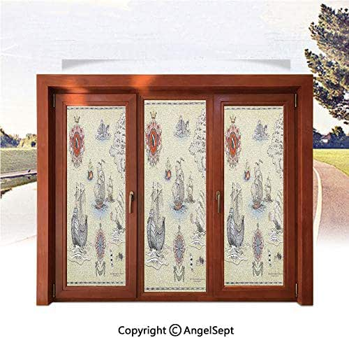 RWNFA 3D Printed Non Adhesive Home Office Window Film,Antique Old Plan Discovery Ship Pirate Wave Compass Navigation Geography Theme 22.8