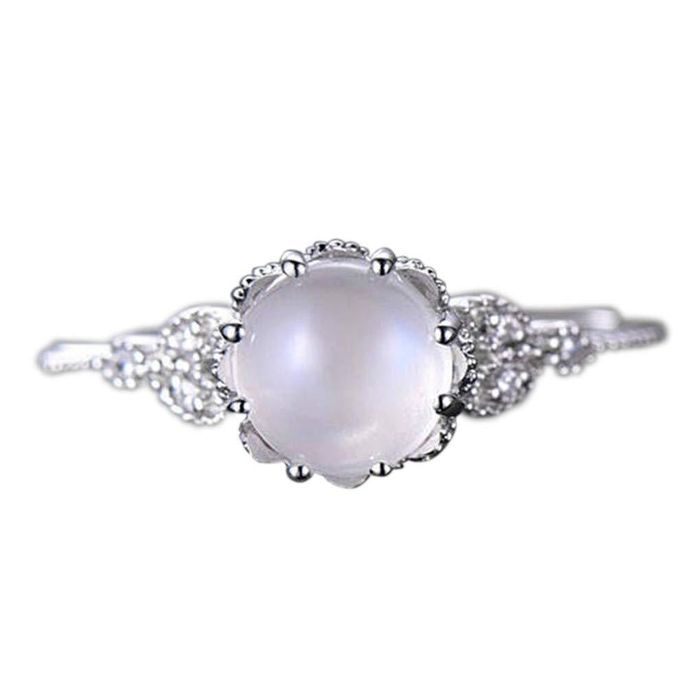 Mysky Moonstone Diamond Encrusted Ring Stylish Ring Engagement Ring