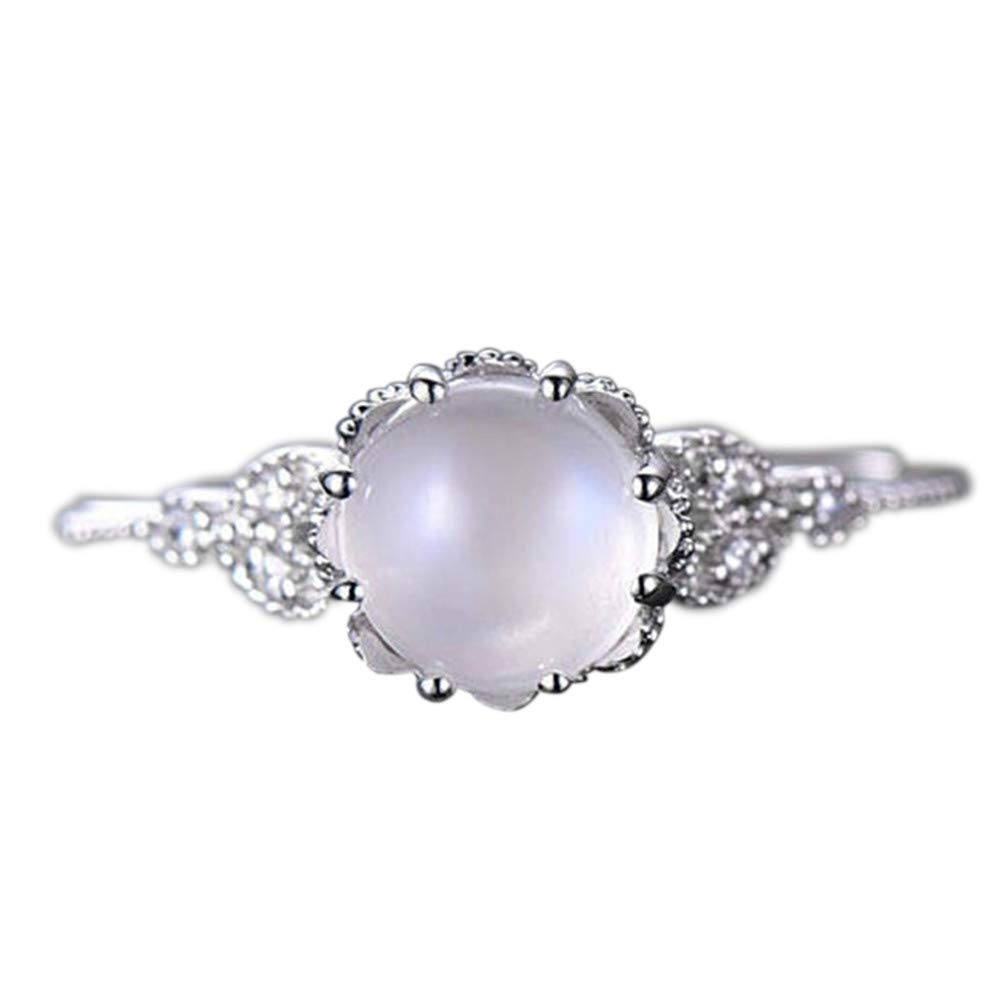 Keepfit Women's Moonstone Diamond Encrusted Stylish Ring Engagement Rings(Silver,8) by Keepfit_Rings (Image #1)
