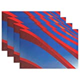 DNOVING Blue Red Steel Design Art Architecture Placemats Set Of 4 Heat Insulation Stain Resistant For Dining Table Durable Non-slip Kitchen Table Place Mats
