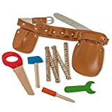 Construction Tool Belt Set with Five Wooden Tools Great for Pretend Play