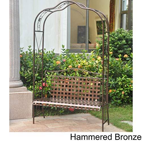 International Caravan 511197-OG-165267-O-852767 Iron Outdoor Arbor Bench, Hammered Bronze